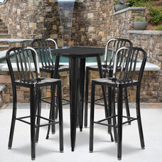 "Commercial Grade 24"" Round Black Metal Indoor-Outdoor Bar Table Set with 4 Vertical Slat Back Stools"