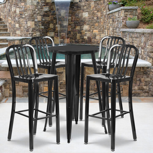 """Our Commercial Grade 24"""" Round Black Metal Indoor-Outdoor Bar Table Set with 4 Vertical Slat Back Stools is on sale now."""