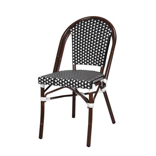 Our Paris Indoor/Outdoor Stackable Armless Side Chair with Dark Bamboo Aluminum Frame - Black and White is on sale now.