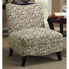 Fabric Accent Chair with Tapered Solid Wood Legs - Tan Swirl