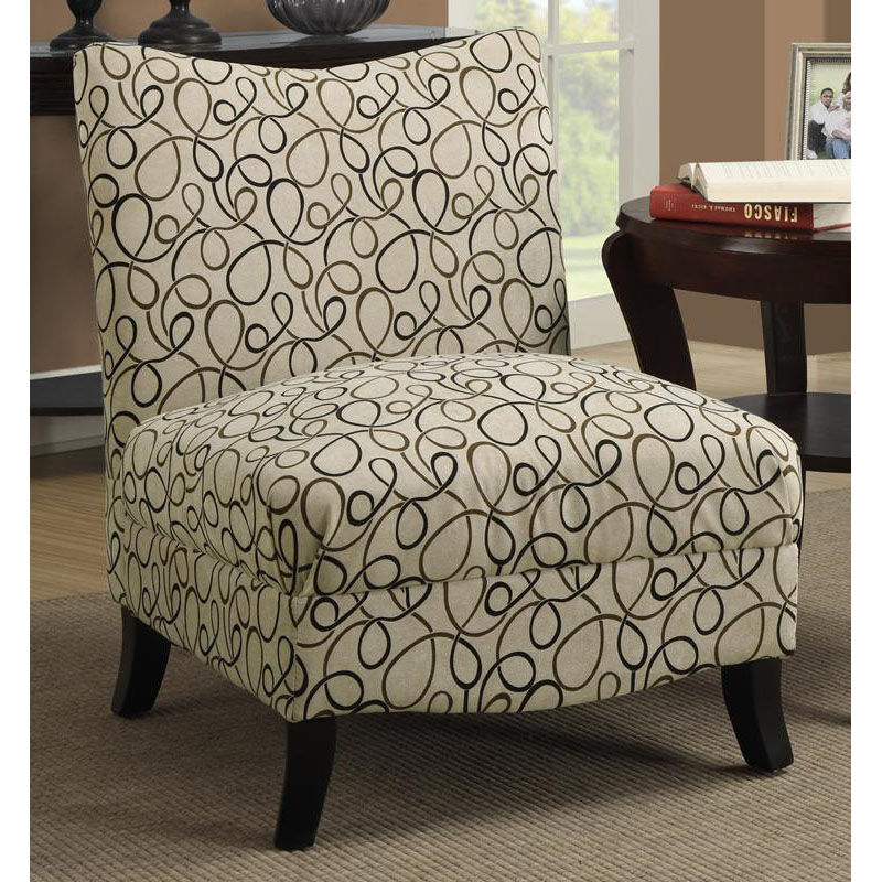 Fabric Accent Chair With Tapered Solid Wood Legs   Tan Swirl