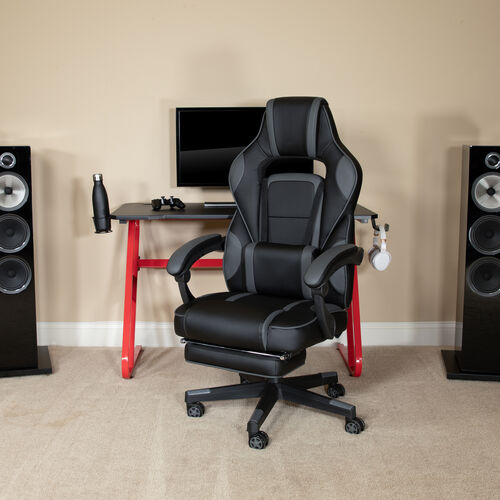 BlackArc Gaming Desk with Cup Holder/Headphone Hook & Reclining Back/Arms Gaming Chair with Footrest