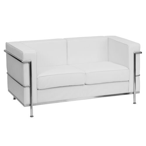 Our HERCULES Regal Series Contemporary Melrose White LeatherSoft Loveseat with Encasing Frame is on sale now.