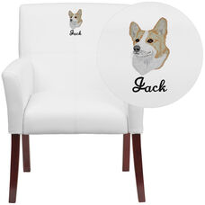 Embroidered White LeatherSoft Executive Side Reception Chair with Mahogany Legs