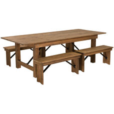"HERCULES Series 8' x 40'' Antique Rustic Folding Farm Table and Four 40.25""L Bench Set"