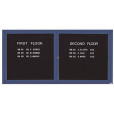 2 Door Indoor Enclosed Directory Board with Blue Anodized Aluminum Frame - 36