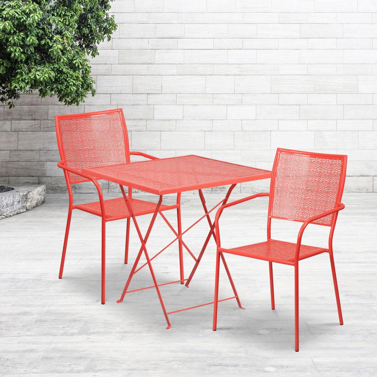 SQ Coral Fold Patio Set COSQFCHRREDGG Bizchaircom - Metal folding patio table and chairs