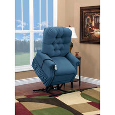 Two Way Petite Reclining Power Lift Chair with Matching Arm and Headrest Covers - Aaron Williamsburg Blue Fabric