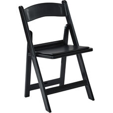 Work Smart Wedding Folding Chair with Resin Frame and Padded Seat - Set of 4 - Black