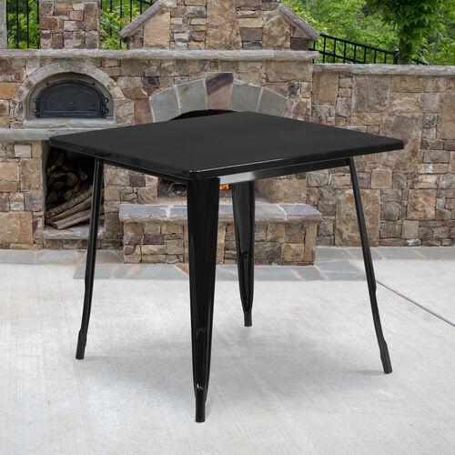 "Commercial Grade 31.5"" Square Metal Indoor-Outdoor Table"