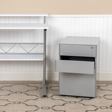 Modern 3-Drawer Mobile Locking Filing Cabinet with Anti-Tilt Mechanism and Hanging Drawer for Legal & Letter Files, Gray