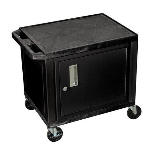 Tuffy Plastic Cart with Cabinet and Black Legs