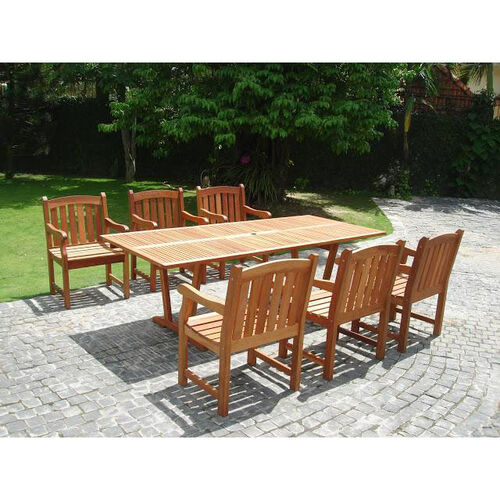 Our Malibu Outdoor 7 Piece Wood Patio Dining Set With Rectangular Extension Table And 6 Arched