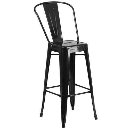 """Our Commercial Grade 30"""" High Black Metal Indoor-Outdoor Barstool with Removable Back is on sale now."""