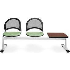 Moon 3-Beam Seating with 2 Sage Green Fabric Seats and 1 Table - Mahogany Finish