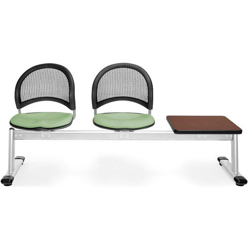 Our Moon 3-Beam Seating with 2 Sage Green Fabric Seats and 1 Table - Mahogany Finish is on sale now.