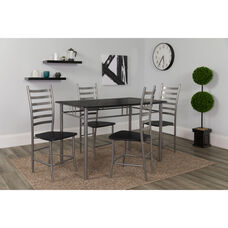 Manhattan 5 Piece Black Wood Grain Finish Dinette Set with Chairs
