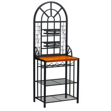 Dome Fixed Shelf Metal Bakers Rack with Light Cherry Counter and Adjustable Nesting Baskets