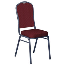 Praise Currant Fabric Upholstered Crown Back Banquet Chair - Silver Vein Frame