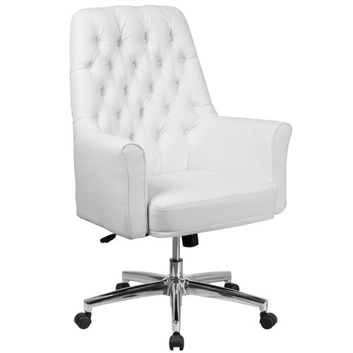 Our Mid-Back Traditional Tufted White LeatherSoft Executive Swivel Office Chair with Arms is on sale now.