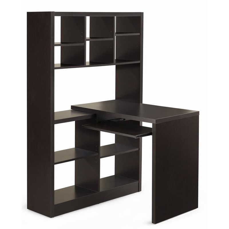 ... Our Left Or Right Facing Home Office Corner Desk With Attached Shelving  Unit   Cappuccino Is