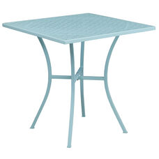 "Commercial Grade 28"" Square Sky Blue Indoor-Outdoor Steel Patio Table"