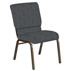 Embroidered 18.5''W Church Chair in Circuit Leaf Fabric - Gold Vein Frame