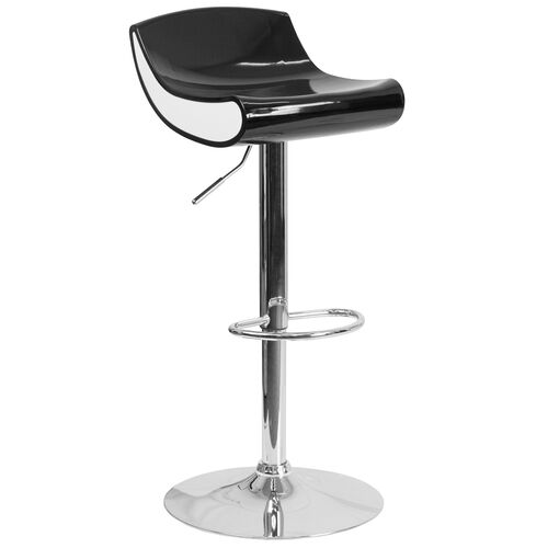 Our Contemporary Black and White Adjustable Height Plastic Barstool with Chrome Base is on sale now.