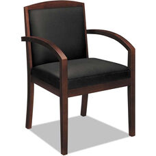 Basyx® VL850 Series Wood Guest Arm Chair with Black Leather Seat and Full Back - Mahogany