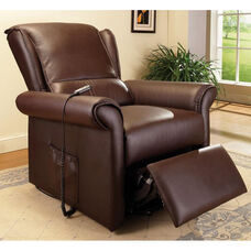 Emari Transitional Style Faux Leather Power Lift Recliner with Massage and Wired Control - Dark Brown
