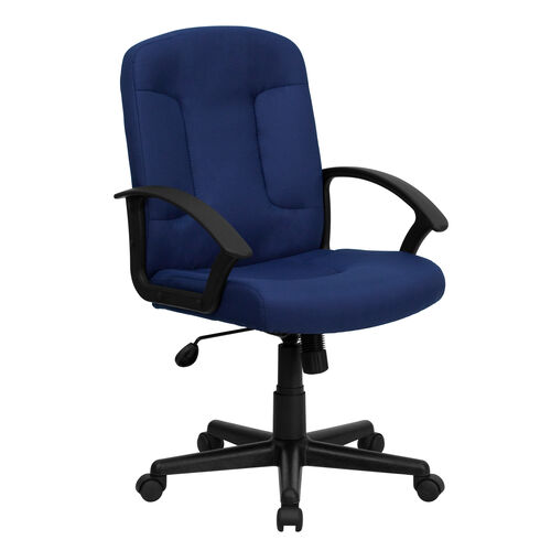 Our Mid-Back Navy Fabric Executive Swivel Office Chair with Nylon Arms is on sale now.