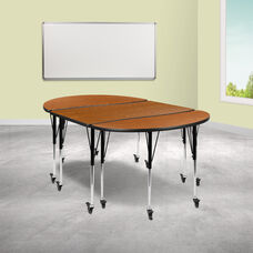 """3 Piece Mobile 76"""" Oval Wave Collaborative Oak Thermal Laminate Activity Table Set - Standard Height Adjustable Legs"""