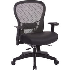Space R2 SpaceGrid Back Office Chair with Memory Foam Bonded Leather Seat and Height Adjustable Arms
