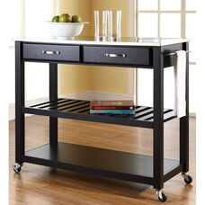 Stainless Steel Top Kitchen Island Cart - Black Finish