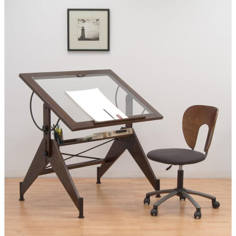 ... Our Aries Clear Tempered Glass And Wood Drafting Table   Dark Walnut Is  On Sale Now