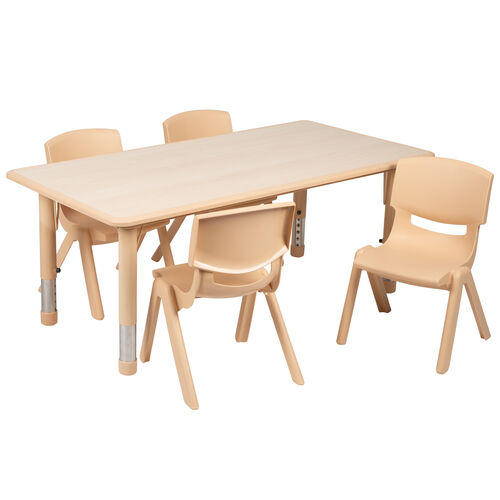"""Our 23.625""""W x 47.25""""L Rectangular Natural Plastic Height Adjustable Activity Table Set with 4 Chairs is on sale now."""