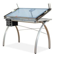 Futura Blue Tempered Glass and Steel Craft Station with Adjustable Angle Top - Silver