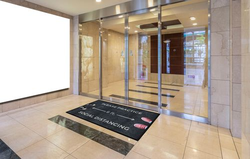 """Our """"Please Practice Social Distancing"""" Message Floor Mat - 35""""W x 59""""D is on sale now."""