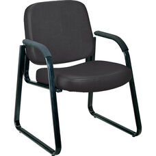 Anti-Microbial and Anti-Bacterial Vinyl Guest and Reception Chair with Arms - Black