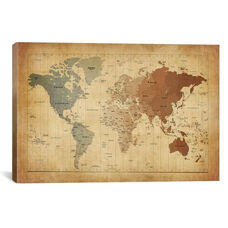 Map of The World III by Michael Tompsett Gallery Wrapped Canvas Artwork with Floating Frame - 27