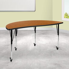 """Mobile 60"""" Half Circle Wave Collaborative Oak Thermal Laminate Activity Table - Standard Height Adjustable Legs"""