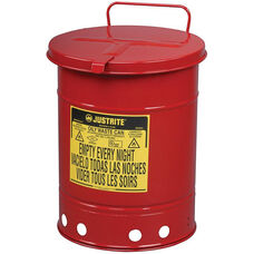 14 Gallon Steel Hand-Operated Oily Waste Can - Red