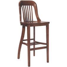 6891 Bar Stool w/ Slat Back & Wood Saddle Seat