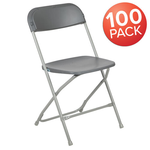 Our HERCULES Series 100 Pack 650 lb. Capacity Premium Grey Plastic Folding Chair is on sale now.