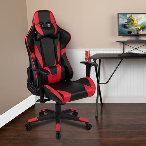 Our BlackArc X20 Gaming Chair Racing Office Ergonomic Computer PC Adjustable Swivel Chair with Fully Reclining Back in Red LeatherSoft is on sale now.