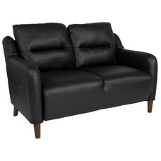 Newton Hill Upholstered Bustle Back Loveseat in Black LeatherSoft