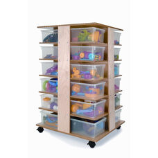 24-Cubby Tower with Clear Trays and Heavy Duty Casters