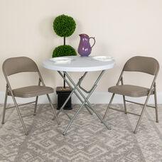 HERCULES Series Double Braced Gray Vinyl Folding Chair