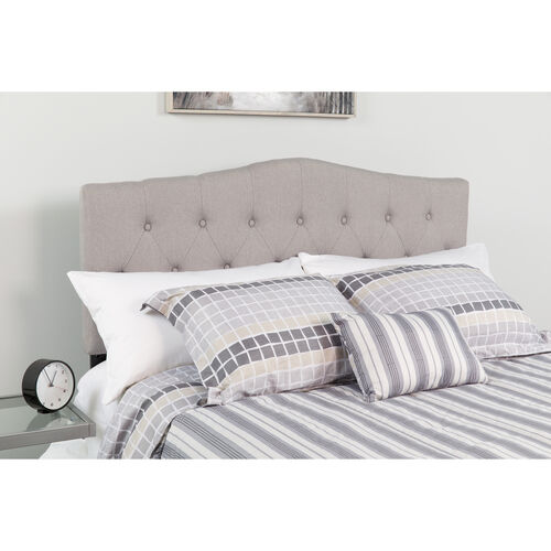 Our Cambridge Tufted Upholstered Full Size Headboard in Light Gray Fabric is on sale now.