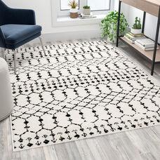 Geometric Bohemian Low Pile Rug - 5' x 7' - Ivory/Black